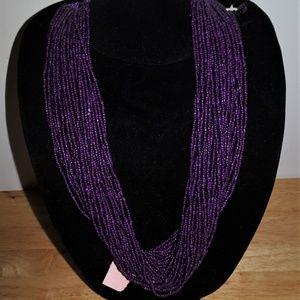 Purple Seed Bead Macrame Multi~Strand Necklace